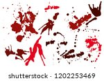 hand drawn set of red ink spots ...   Shutterstock .eps vector #1202253469