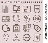 simple set of  16 outline icons ... | Shutterstock .eps vector #1202261956