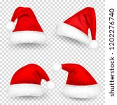 christmas santa claus hats with ... | Shutterstock .eps vector #1202276740