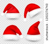 christmas santa claus hats with ... | Shutterstock .eps vector #1202276743