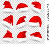 christmas santa claus hats with ... | Shutterstock .eps vector #1202276746