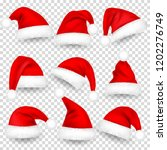 christmas santa claus hats with ... | Shutterstock .eps vector #1202276749