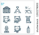 simple set of  9 outline icons... | Shutterstock .eps vector #1202278003