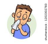 running nose. sick boy with a... | Shutterstock .eps vector #1202302783
