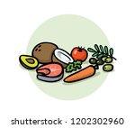 healthy balanced food.... | Shutterstock .eps vector #1202302960