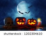 halloween holiday concept.... | Shutterstock . vector #1202304610