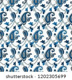 traditional indian blue paisley ... | Shutterstock .eps vector #1202305699