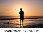 Fisher Man With Fishing Rod On...