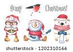 Winter Watercolor Set. Santa...