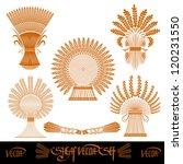 five sheaf silhouette of wheat | Shutterstock .eps vector #120231550