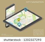 isometry city map navigation... | Shutterstock . vector #1202327293