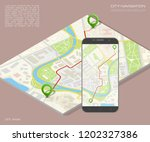 isometry city map route... | Shutterstock . vector #1202327386