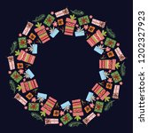 christmas hand drawn wreath... | Shutterstock .eps vector #1202327923