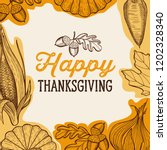 happy thanksgiving banner with... | Shutterstock .eps vector #1202328340