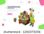 bud concept  florist with... | Shutterstock .eps vector #1202373256