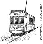 tram sketch. hand drawn cable... | Shutterstock .eps vector #1202378866