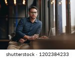 freelancer sitting in a... | Shutterstock . vector #1202384233