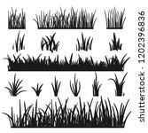 set of black grass silhouettes... | Shutterstock .eps vector #1202396836