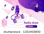 podcast isometric 3d... | Shutterstock .eps vector #1202403850