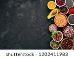 superfoods healthy food. nuts ... | Shutterstock . vector #1202411983