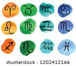 zodiac signs icons  horoscope... | Shutterstock . vector #1202412166
