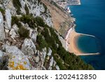 A view of Sandy Bay, East Side of Gibraltar from the top of the Rock - stock photo