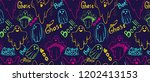 pattern with whisper ghost hand ... | Shutterstock . vector #1202413153