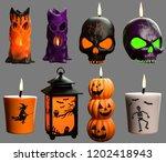 halloween candles 3d... | Shutterstock . vector #1202418943