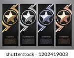 set of black banners  gold ... | Shutterstock .eps vector #1202419003