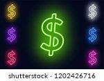 neon dollar sign in various... | Shutterstock .eps vector #1202426716