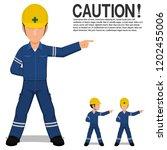 set of industrial worker point... | Shutterstock .eps vector #1202455006