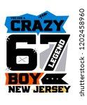 new jersey crazy boy t shirt...   Shutterstock .eps vector #1202458960