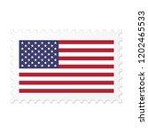United States Flag On White...