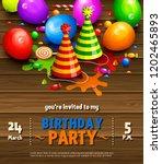 happy birthday greeting card....   Shutterstock .eps vector #1202465893