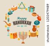 happy hanukkah card template or ... | Shutterstock . vector #1202479489