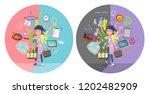 a set of childminder women who...   Shutterstock .eps vector #1202482909