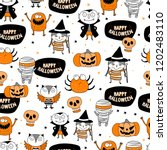 cute halloween pattern | Shutterstock .eps vector #1202483110