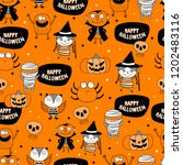 cute halloween pattern | Shutterstock .eps vector #1202483116