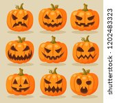 vector set of halloween... | Shutterstock .eps vector #1202483323