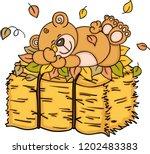 teddy bear sleeping with autumn ... | Shutterstock .eps vector #1202483383
