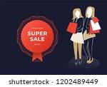 two women holding bags. super...   Shutterstock .eps vector #1202489449