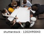 top view of people around table ... | Shutterstock . vector #1202490043