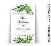 greenery wedding invitation... | Shutterstock .eps vector #1202492026