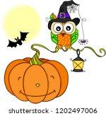 halloween owl with orange... | Shutterstock .eps vector #1202497006