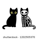 Stock photo cartoon black cat drawing with skeleton cute schrodinger s cat illustration funny halloween clip 1202505370