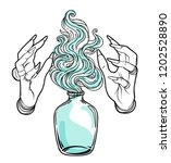 hand of witch with fire. mystic ... | Shutterstock .eps vector #1202528890