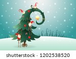 christmas tree decorated with... | Shutterstock .eps vector #1202538520