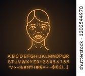 mimic wrinkles neon light icon. ... | Shutterstock .eps vector #1202544970