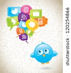 communications icons with bird... | Shutterstock .eps vector #120254866