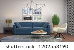 interior of the living room. 3d ... | Shutterstock . vector #1202553190